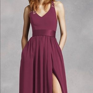 V Neck Halter Gown with Sash (Color: Wine)